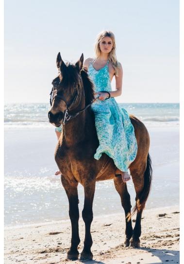 Vestido Largo Kikai  Turquesa